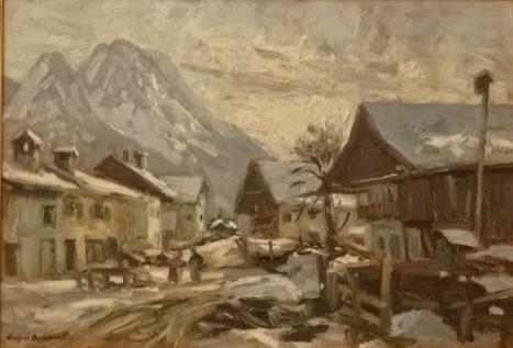Garmisch-Partenkirchen z górami w tle, olej na płótnie, nie datowany, własność doktora Zygmunta Niedźwiedzia