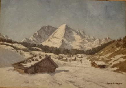 Alpy zimą, nie datowany, olej na płótnie, własność doktora Zygmunta Niedźwiedzia