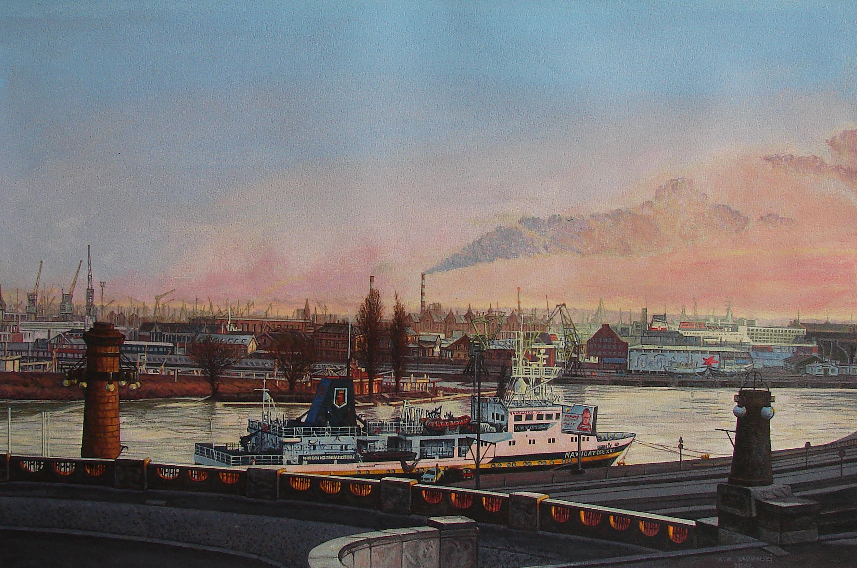 A.A.Sadowski, Szczecin, Widok z Wałów Chrobrego na port, 2016, akryl, papier, 54,2 x 81,5 cm