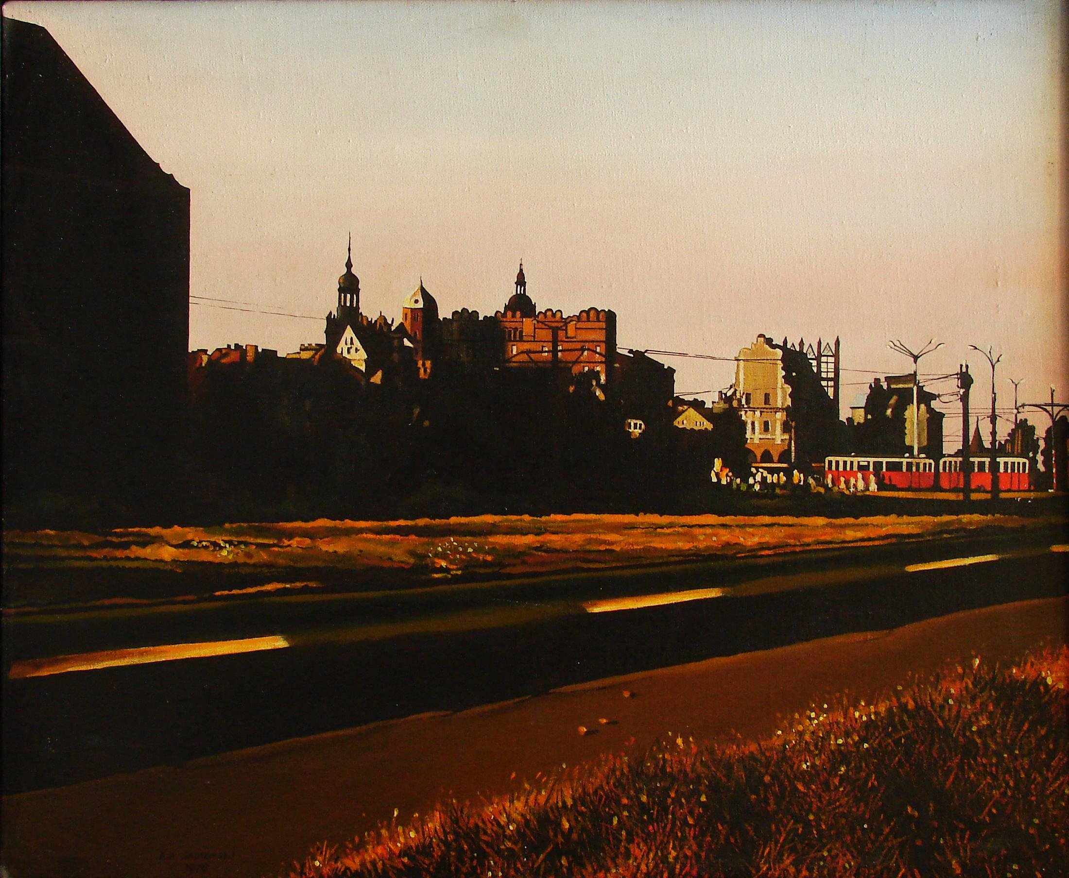A.A.Sadowski, Szczecin III, 1976, akryl, płótno, 50x61 cm