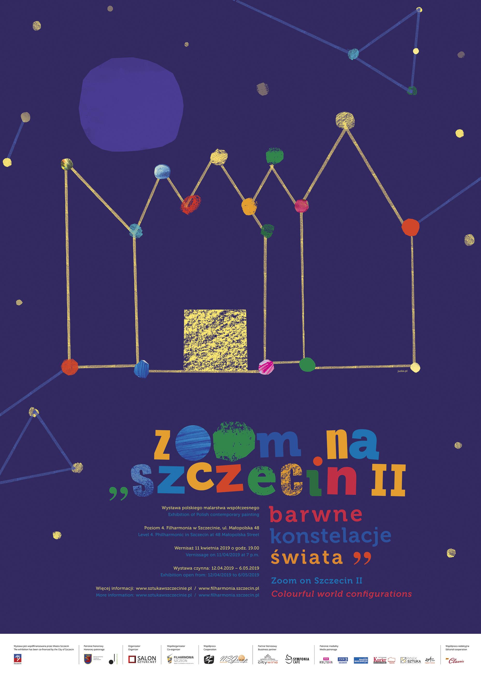 Plakat Zoom na Szczecin II. Barwne konstelacje świata, projekt Justyna Machnicka, 2019