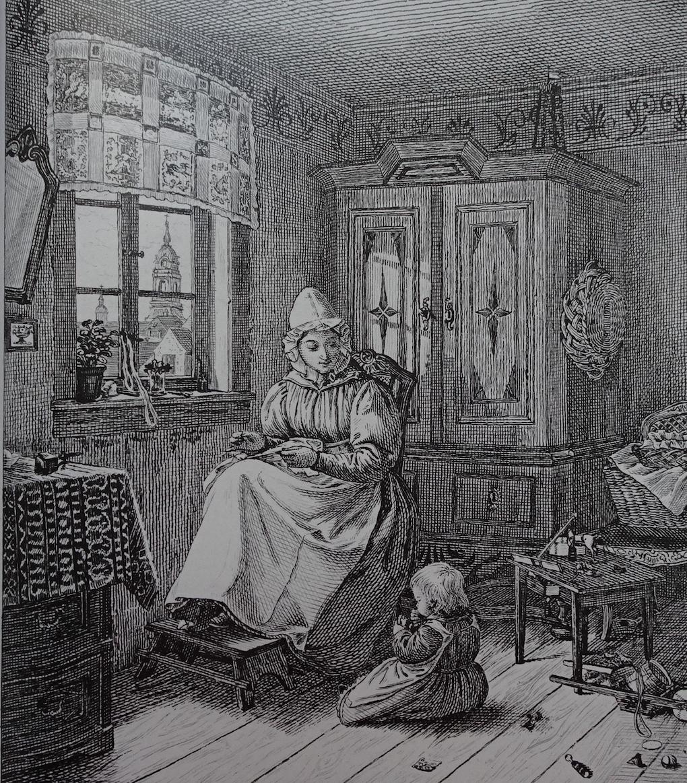 Pötschke według Ludwiga Mosta, Matka z dzieckiem, 1833, miedzioryt, akwaforta na papierze, rycina reprodukcyjna, Muzeum Narodowe w Szczecinie