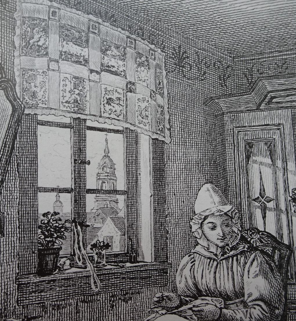 Pötschke, według Ludwiga Mosta, Widok przez okno na kościół Mariacki w Dreźnie, 1833, miedzioryt, akwaforta na papierze, fragment ryciny reprodukcyjnej Matka z dzieckiem, 1833, Muzeum Narodowe w Szczecinie