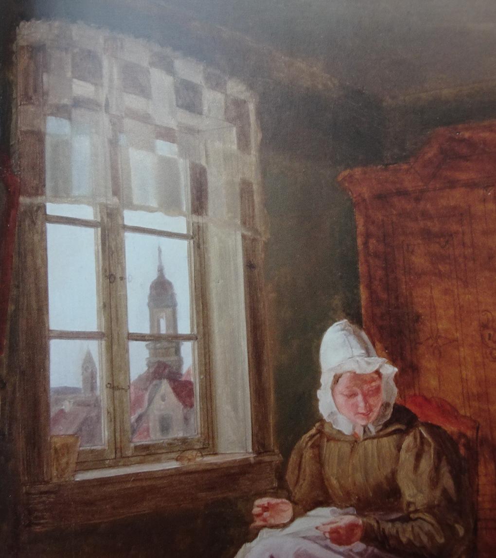 Ludwig Most, Widok przez okno, fragment studium Matka z dzieckiem, 1833, olej na płótnie, Greifswald, Pommersches Landesmuseum, reprodukcja: jak wyżej