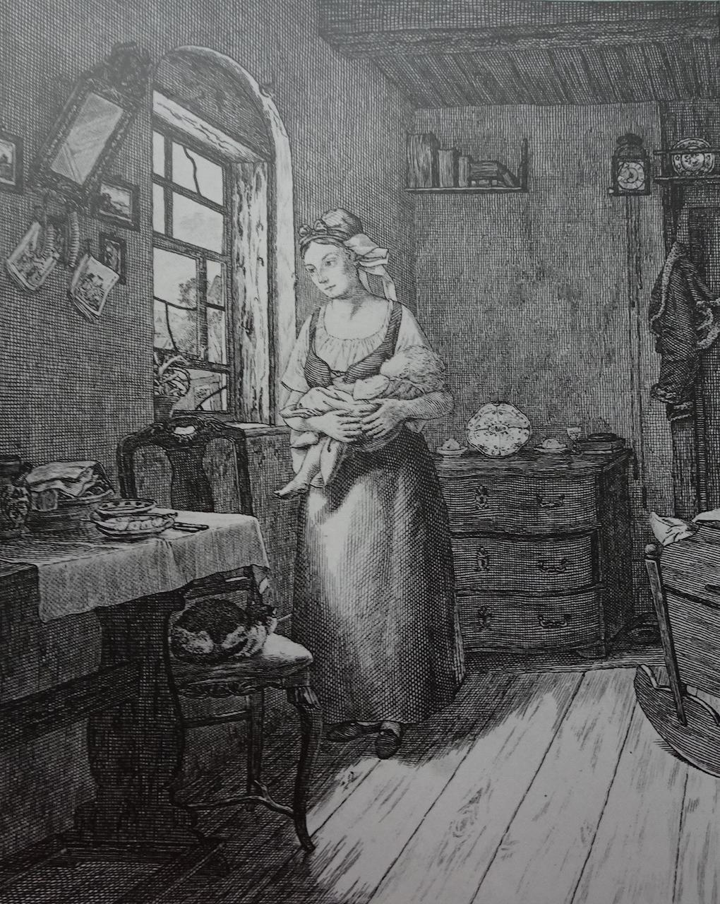 Pötschke według Ludwiga Mosta, Oczekująca (Kobieta wyczekująca męża), 1832, miedzioryt, akwaforta na papierze, rycina reprodukcyjna, Muzeum Narodowe w Szczecinie