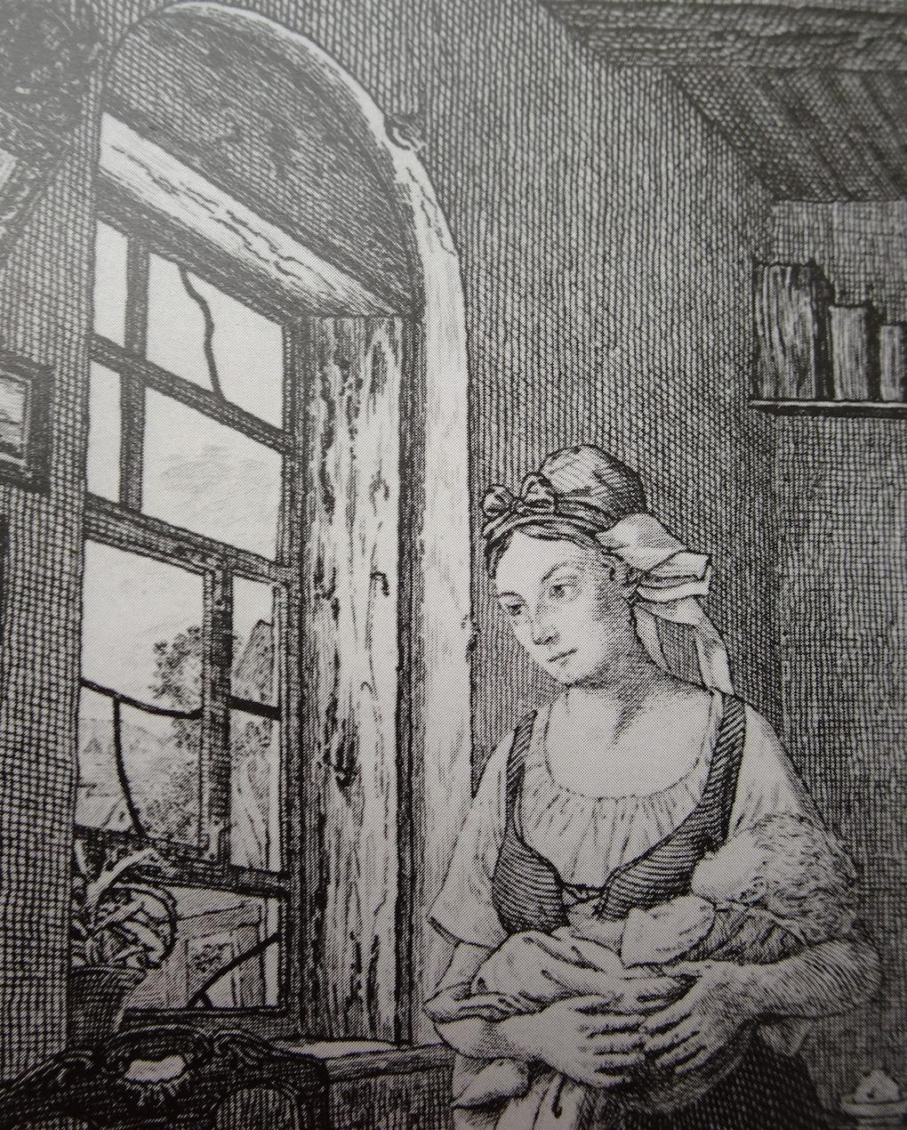 Pötschke według Ludwiga Mosta, Widok przez okno, fragment grafiki według obrazu Oczekująca (Kobieta wyczekująca męża), 1832, miedzioryt, akwaforta na papierze, rycina reprodukcyjna, Muzeum Narodowe w Szczecinie