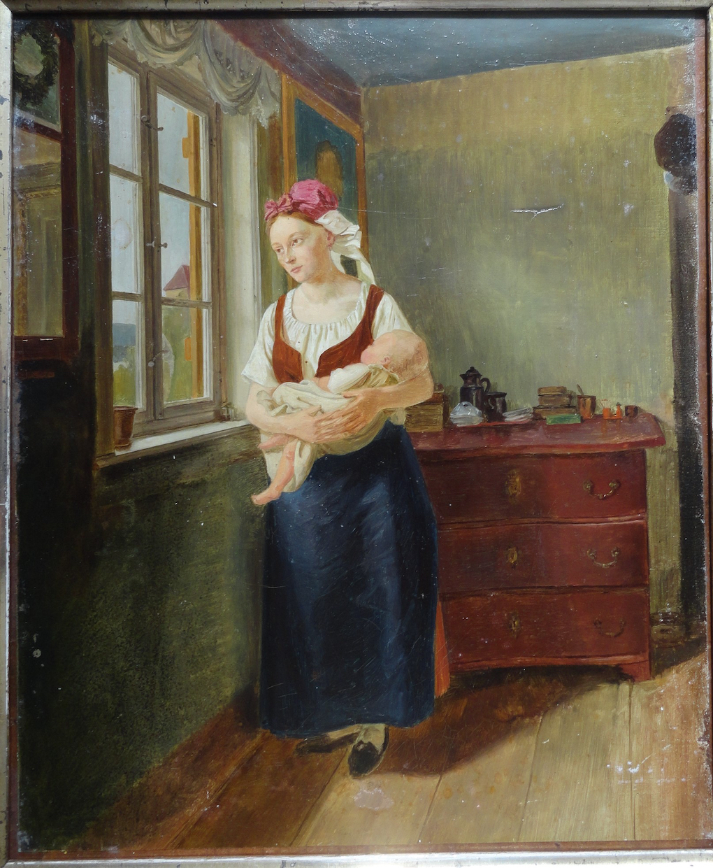 Ludwig Most, Studium do obrazu Oczekująca (Kobieta wyczekująca męża), 1831/1832, olej, płótno naklejone na dyktę, Muzeum Narodowe w Szczecinie
