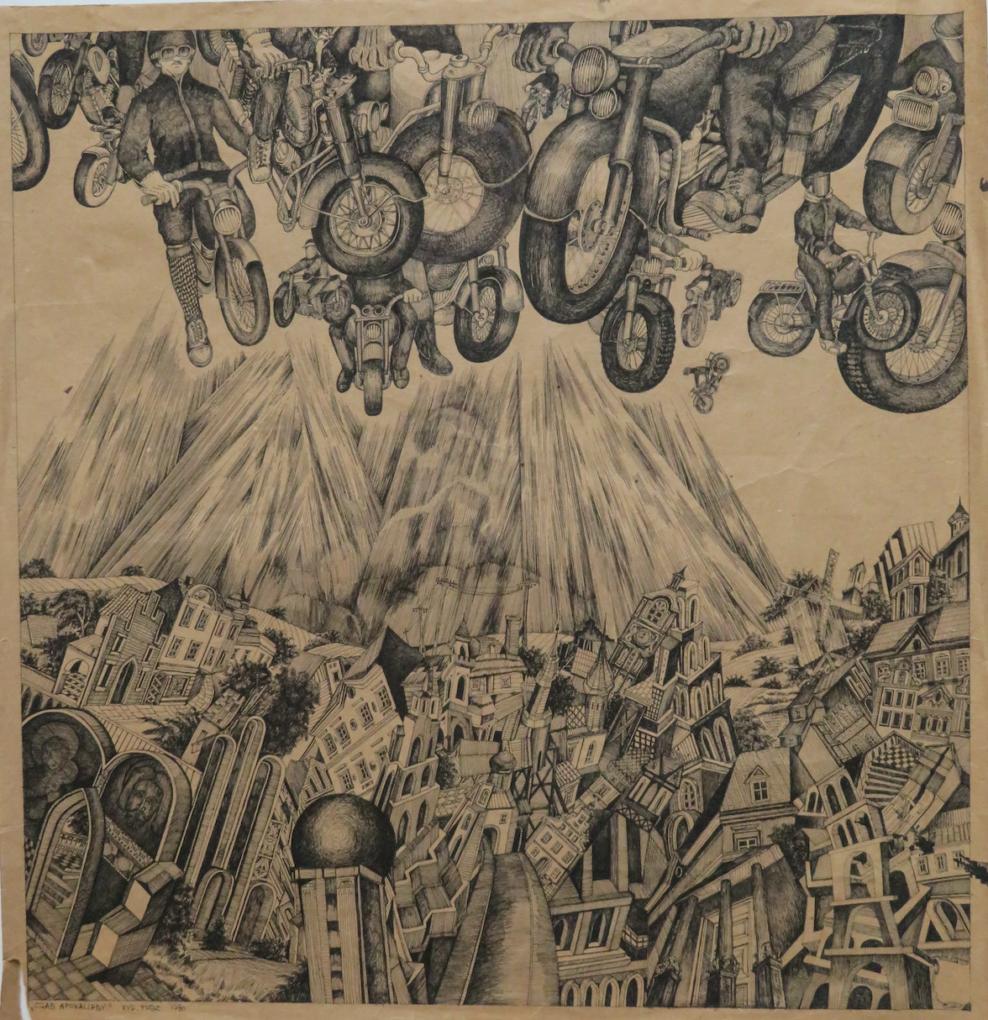 Wieńczysław Mazuś, rysunek tuszem, papier, 64 x66 cm, ze zbiorów Zamku Książąt Pomorskich