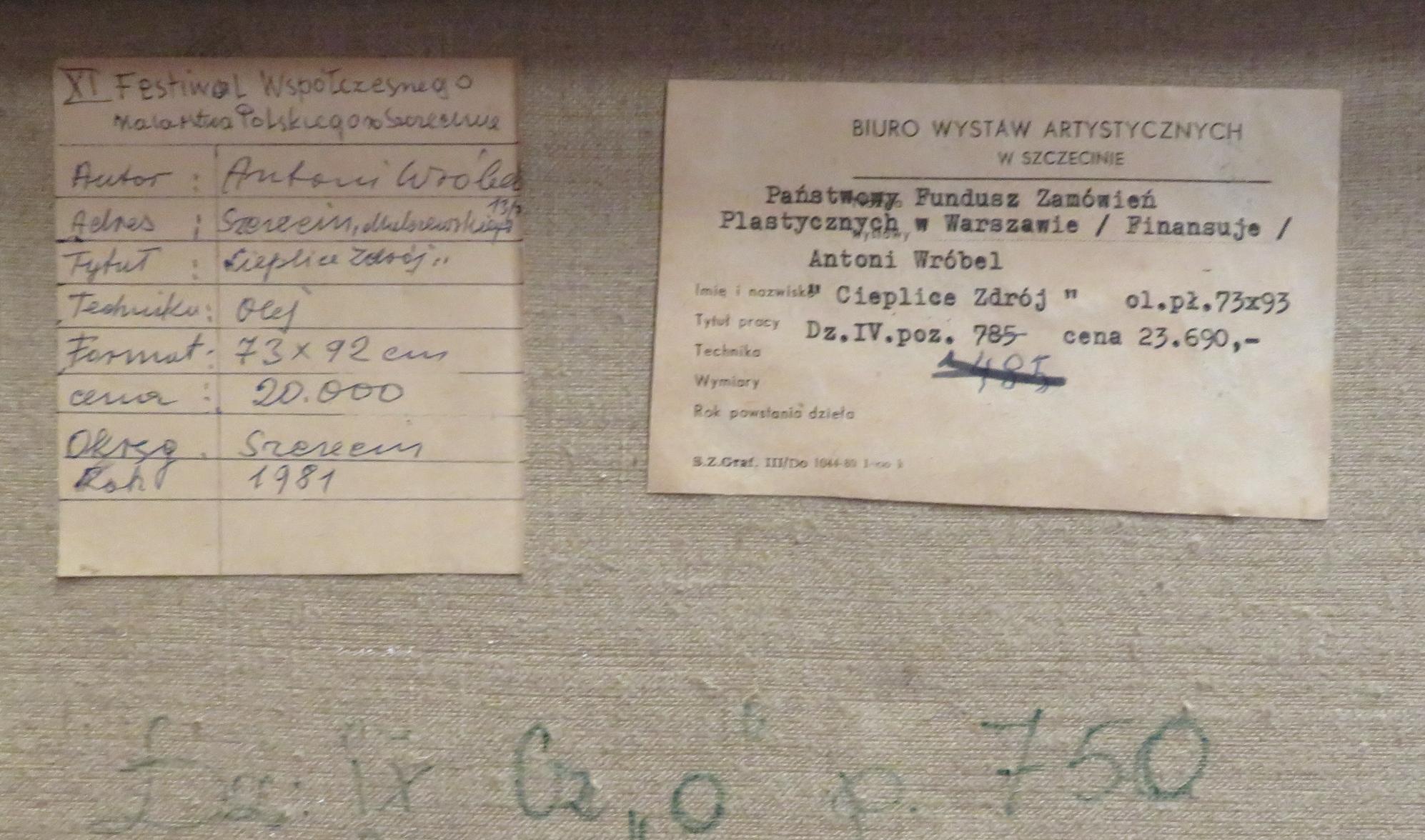 Metryczka obrazu Antoniego Wróbla