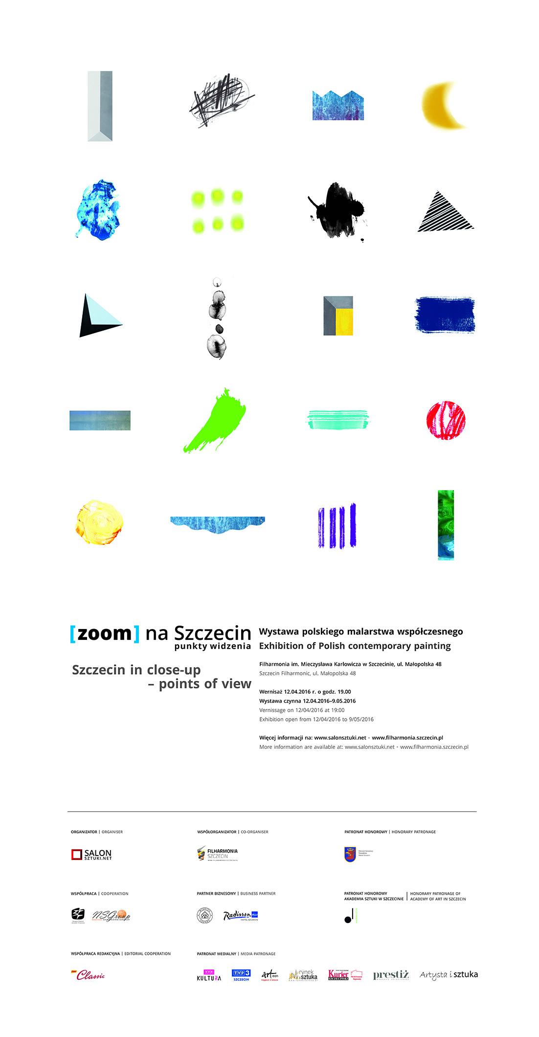 Plakat z wystawy Zoom na Szczecin. Punkty widzenia, projekt Justyna Machnicka, 2016