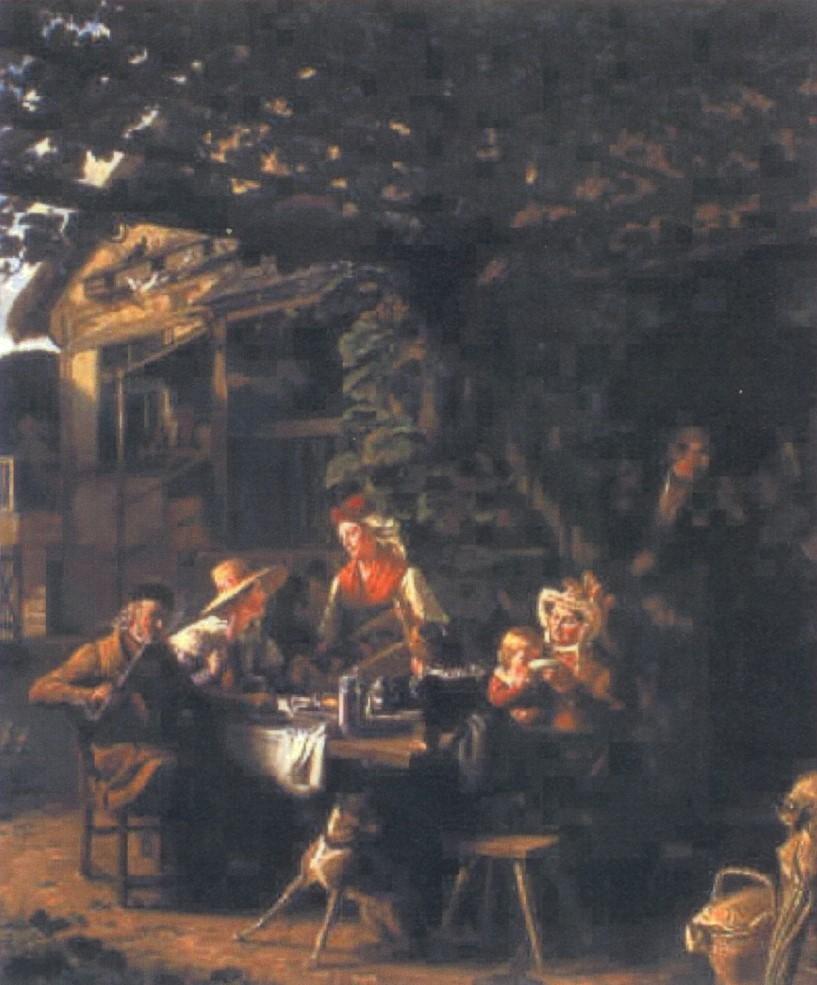 Ludwig Most, Saska karczma z kręgielnią, 1834, olej na płótnie, własność prywatna