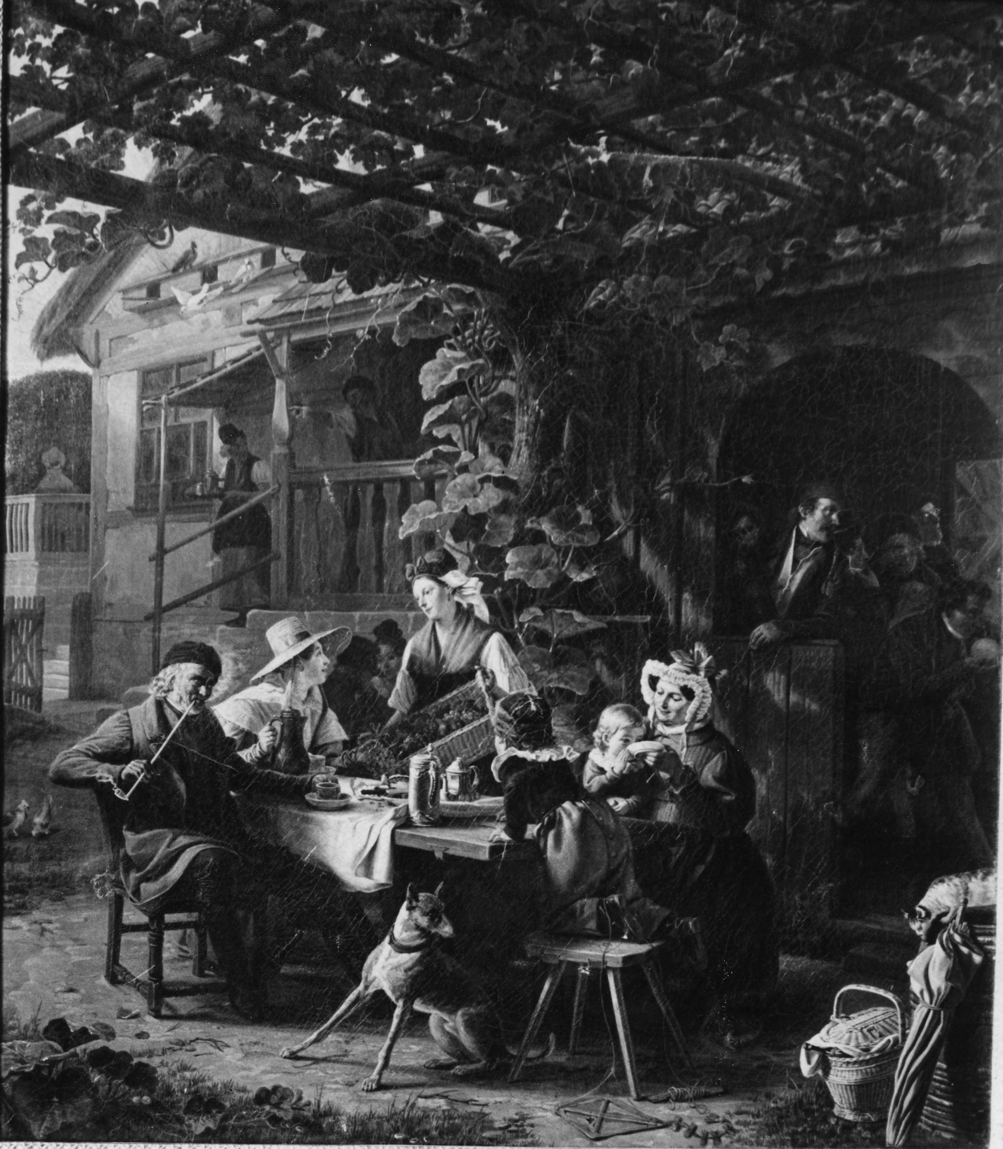 Ludwig Most, Saska karczma z kręgielnią, 1834, olej na płótnie, zdjęcie archiwalne, Muzeum Narodowe w Szczecinie