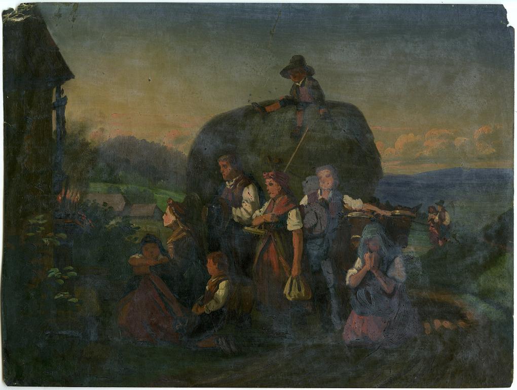 Ludwig Most, Wieczorna modlitwa czeskich chłopów, 1851, studium do obrazu, olej na papierze, Muzeum Narodowe w Szczecinie