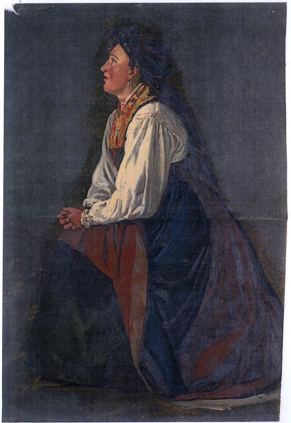 Ludwig Most, Modląca się kobieta, 1851, studium postaci do obrazu Wieczorna modlitwa czeskich chłopów, olej na papierze, Muzeum Narodowe w Szczecinie