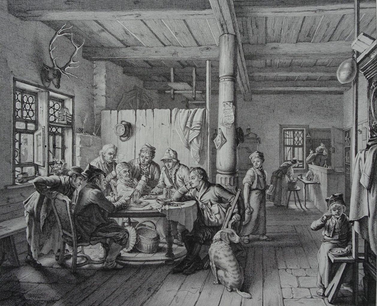 Christian Ernst Stölzel (1792–1837), Kolegium prasowe, według obrazu Ludwiga Mosta, akwaforta na papierze, 1832, Muzeum Narodowe w Szczecinie