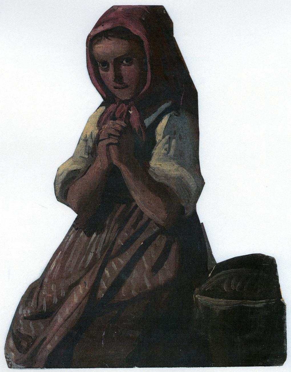 Ludwig Most, Modląca się dziewczynka, 1851, studium postaci do obrazu Wieczorna modlitwa czeskich chłopów, olej na papierze, Muzeum Narodowe w Szczecinie