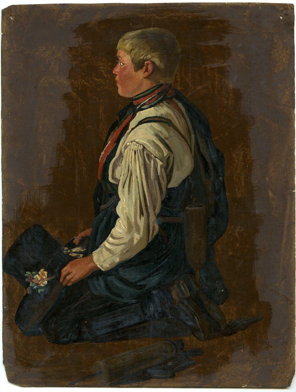 Ludwig Most, Modlący się chłopiec, 1851, studium postaci do obrazu Wieczorna modlitwa czeskich chłopów, olej na papierze, Muzeum Narodowe w Szczecinie