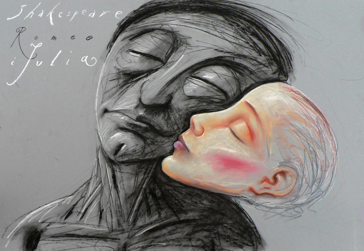 Leszek Żebrowski, rysunek pastelem Romeo i Julia, 2009, 100 x 70 cm
