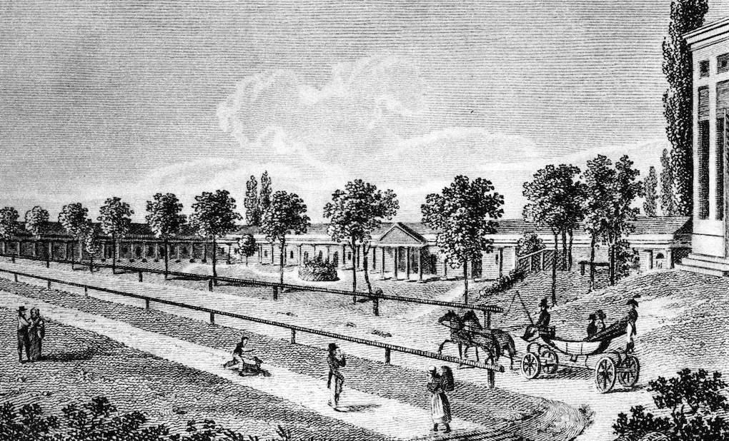 Františkovy Lazne, Promenada około 1850 roku, litografia na papierze, 1850, https://upload.wikimedia.org/wikipedia/commons/5/5a/Františkovy_Lázně_1850.jpg – dostęp 27.01.2020