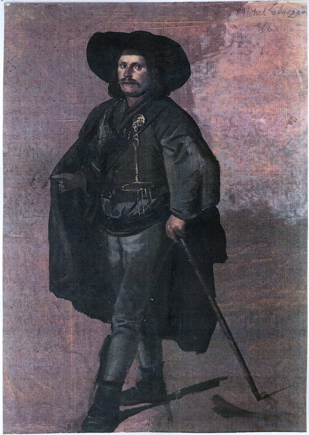 Ludwig Most, Portret Michela Labarziena, 1840, studium olejne na papierze, Muzeum Narodowe w Szczecinie