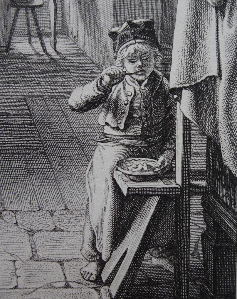 Christian Ernst Stölzel, według Ludwiga Mosta, Jedzący chłopiec, fragment kompozycji Kolegium prasowe, akwaforta na papierze, 1832, Muzeum Narodowe w Szczecinie