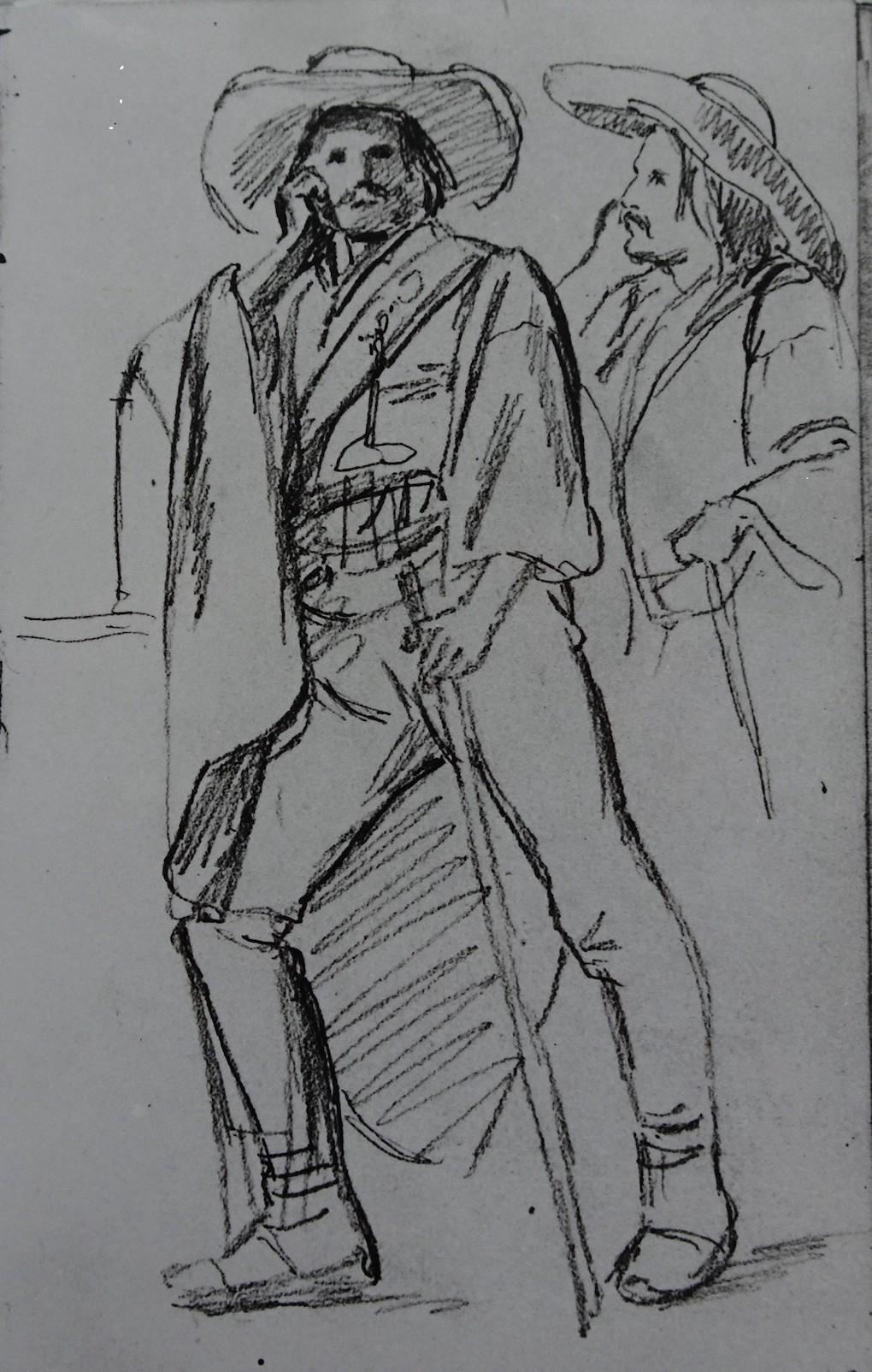 Ludwig Most, Szkice do portretu Michela Labarziena, 1840, ołówek na papierze welinowym, Szkicownik nr VI, karta 49, Muzeum Narodowe w Szczecinie