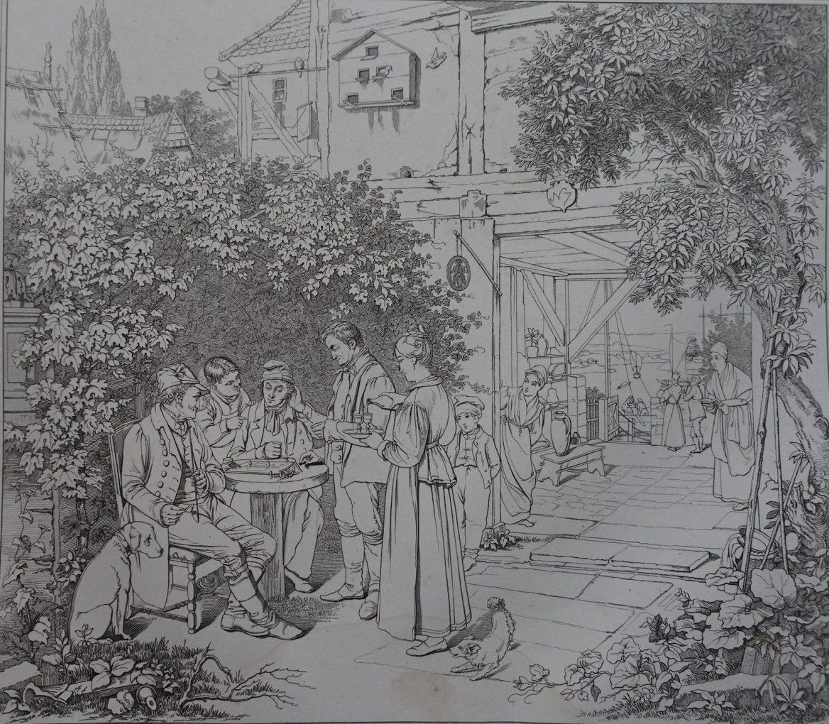 Carl Funcke (czynny w latach 1826–1832) Zakończona gra o zwolnienie z zapłaty,według obrazu Ludwiga Mosta, 1832, akwaforta na papierze, Muzeum Narodowe w Szczecinie