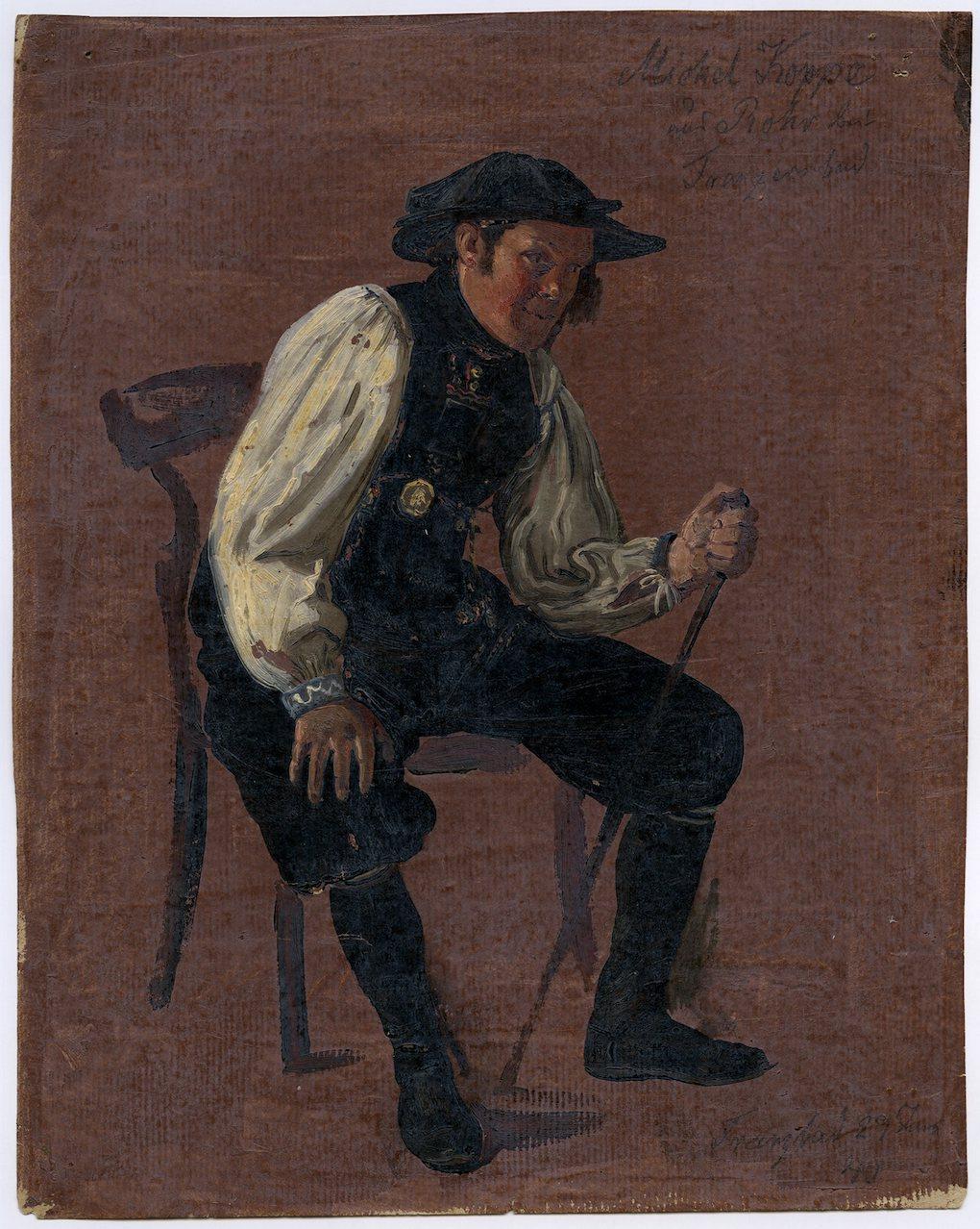Ludwig Most, Portret siedzącego Michaela Koppe, 29 czerwca 1840, studium olejne na papierze, Muzeum Narodowe w Szczecinie