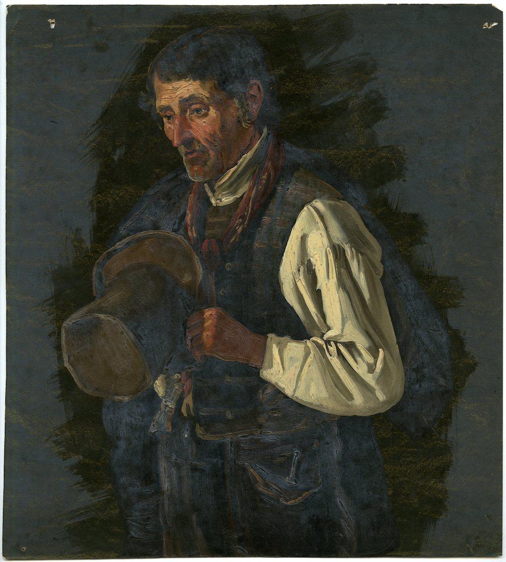 Ludwig Most, Modlący się mężczyzna z kapeluszem, 1851, studium postaci do obrazu Wieczorna modlitwa czeskich chłopów, olej na papierze, Muzeum Narodowe w Szczecinie