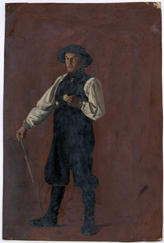 Ludwig Most, Portret stojącego Michaela Koppe, 29 czerwca 1840, olej na papierze, Muzeum Narodowe w Szczecinie