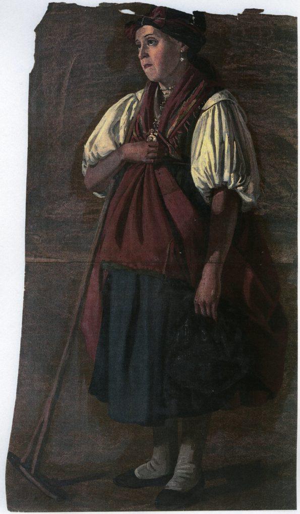 Ludwig Most, Teresa Wurtinger z Witkowic, 1851, studium postaci do obrazu Wieczorna modlitwa czeskich chłopów, olej na papierze, Muzeum Narodowe w Szczecinie
