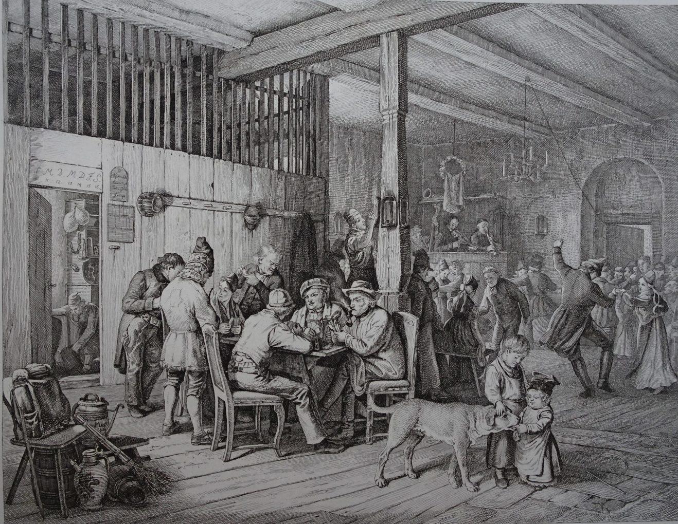 Adrian Ludwig Richter (1803–184) Karczma, według obrazu Ludwiga Mosta, 1833, miedzioryt, akwaforta na papierze, Muzeum Narodowe w Szczecinie