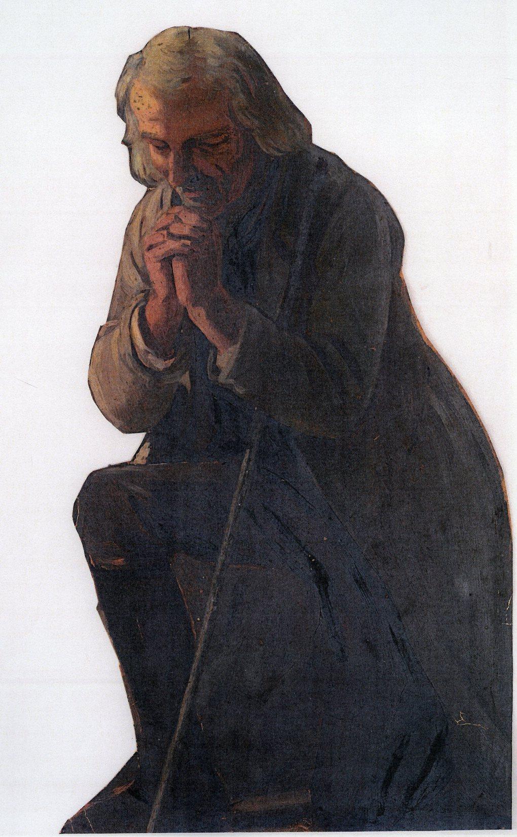 Ludwig Most, Modlący się pasterz, 1851, studium postaci do obrazu Wieczorna modlitwa czeskich chłopów, olej na papierze, Muzeum Narodowe w Szczecinie
