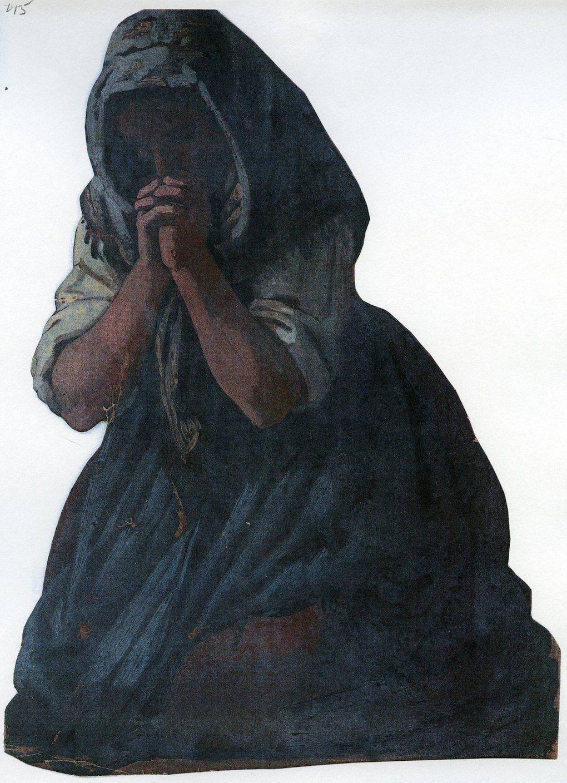 Ludwig Most, Kobieta modląca się na klęczkach, 1851, studium postaci do obrazu Wieczorna modlitwa czeskich chłopów, olej na papierze, Muzeum Narodowe w Szczecinie