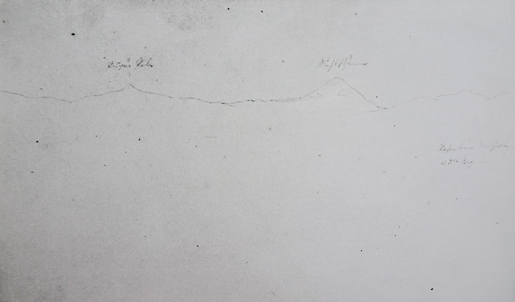 Ludwig Most, Zarys grzbietu Rudaw, 31.08.1833, ołówek, papier welinowy, rysunek w szkicowniku nr 6, karta 3, Muzeum Narodowe w Szczecinie