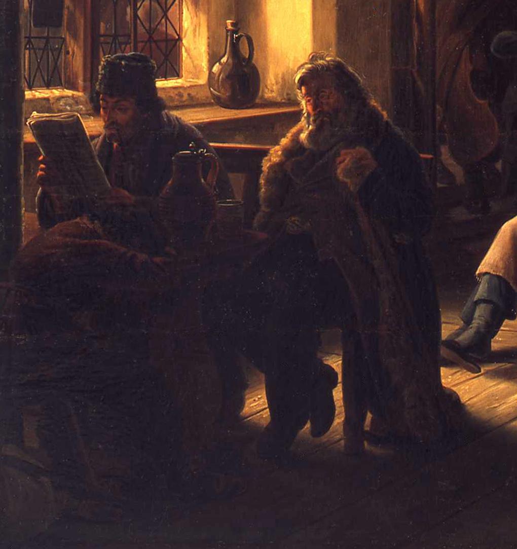 Ludwig Most, Żydzi przy oknie, fragment obrazu Czeska karczma, 1834, olej na płótnie, Muzeum Narodowe w Szczecinie, fot. Grzegorz Solecki&Arkadiusz Piętak