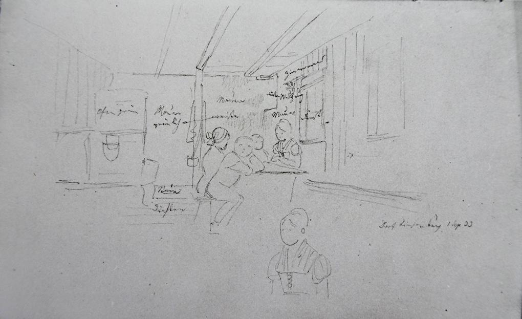 Ludwig Most, Wnętrze klasy szkolnej, 1.09.1833, ołówek, papier welinowy, rysunek w szkicowniku nr 6, karta 6 verso, Muzeum Narodowe w Szczecinie
