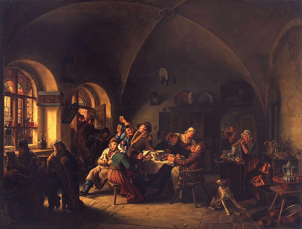Ludwig Most, Panorama sali biesiadnej, fragment obrazu Czeska karczma, 1834, olej na płótnie, Muzeum Narodowe w Szczecinie, fot. Grzegorz Solecki&Arkadiusz Piętak