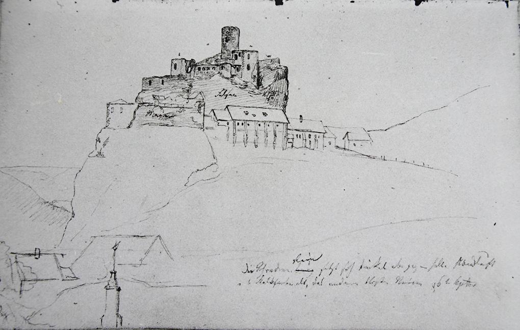 Ludwig Most, Studium zamku na skale, 6.09.1833, ołówek, papier welinowy, rysunek w szkicowniku nr 6, karta 8, Muzeum Narodowe w Szczecinie