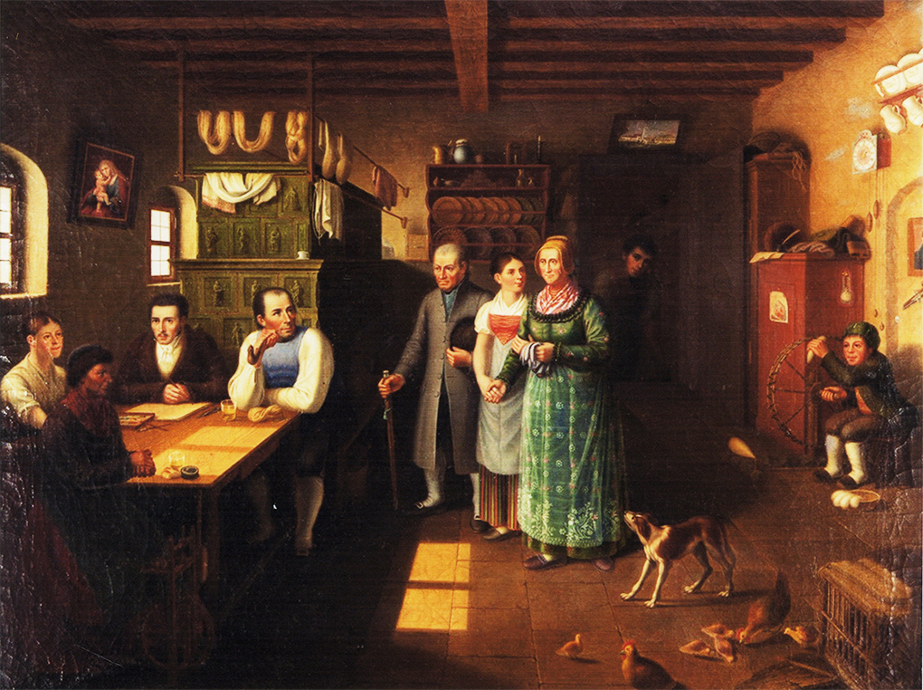 Autor anonimowy, według Ludwiga Mosta, Górskie schronisko, nie datowany, olej na płótnie, obecne miejsce przechowania nieznane