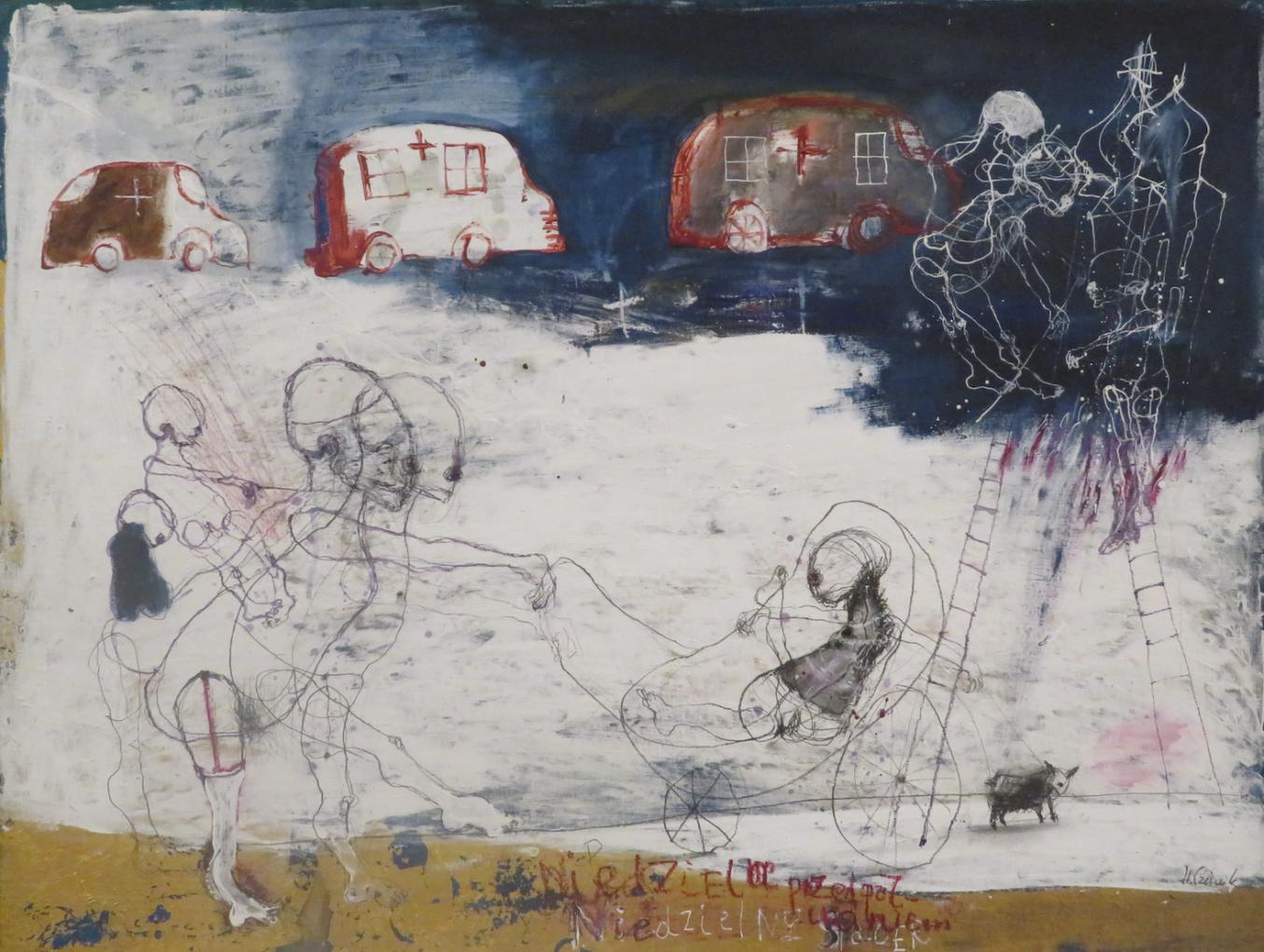 Henryk Cześnik, Niedzielny spacer, 2003, technika własna, 125 x 98 cm, Zamek Książąt Pomorskich, Szczecin 2020, kolekcja Państwowej Galerii Sztuki w Sopocie