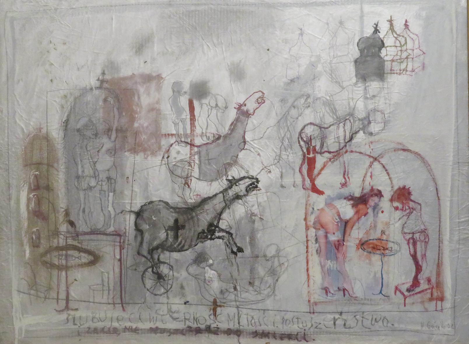 Henryk Cześnik, Ślubuję ci wierność, miłość, posłuszeństwo, 2003, gwasz, 146 x 116 cm, Zamek Książąt Pomorskich, Szczecin 2020, kolekcja Państwowej Galerii Sztuki w Sopocie