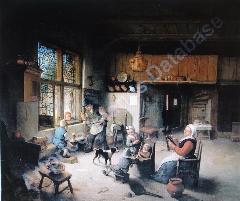 Adriaen van Ostade, Wiejska rodzina we wnętrzu, nie datowany, olej na płótnie, https://www.artprice.com/artist/21747/adriaen-ostade-van/painting/547361/a-peasant-family-in-an-interior?p=9 – dostęp 19.02.2020