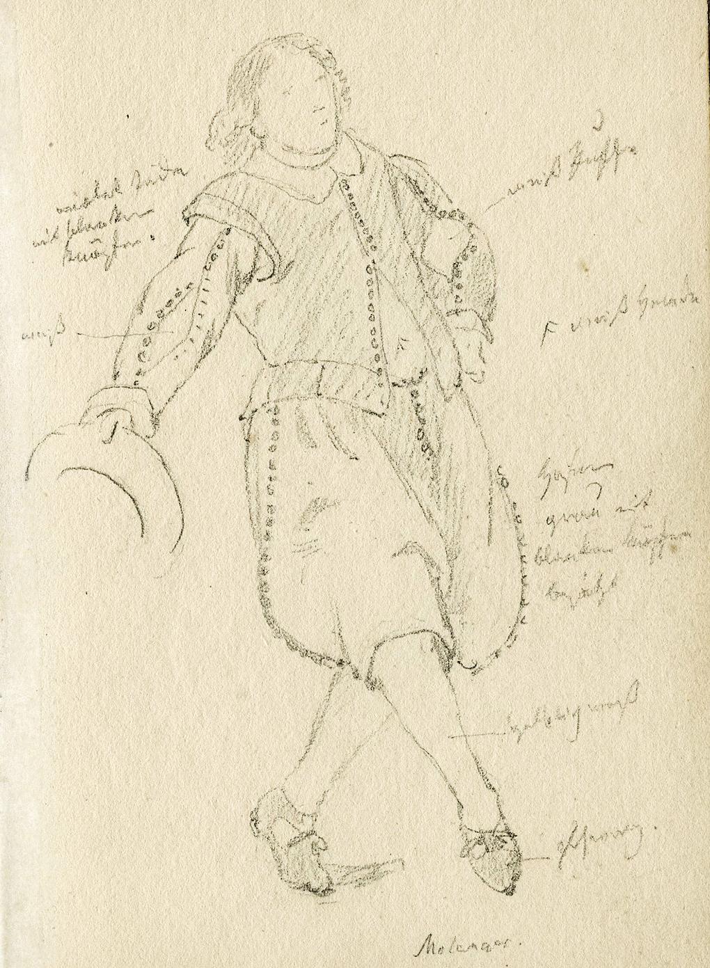 Ludwig Most, Kłaniająca się postać męska, około 1846, ołówek, papier welinowy, rysunek w szkicowniku nr 12, karta 32, Muzeum Narodowe w Szczecinie
