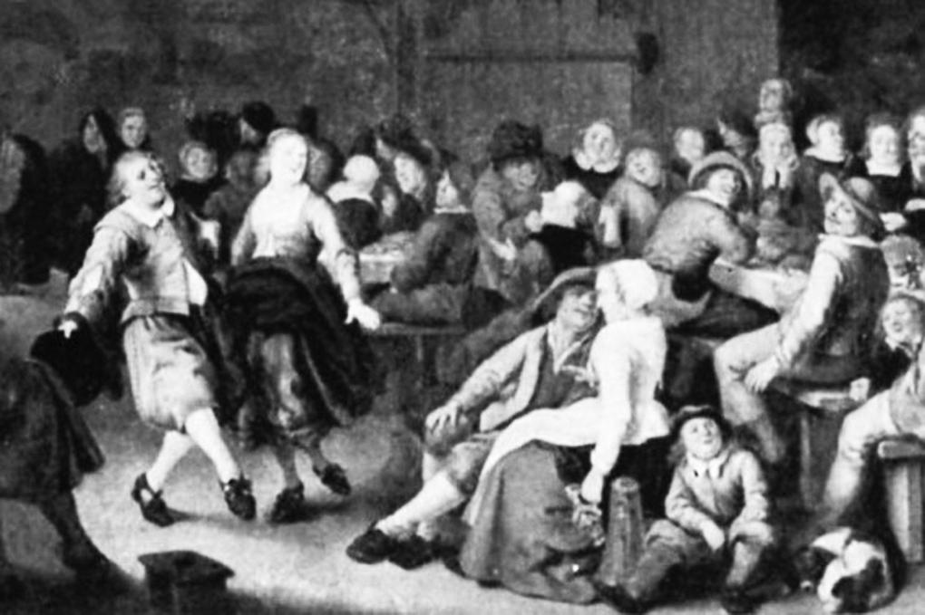Jan Miense Molenaer, Grupa gości z tańczącą parą, fragment obrazu Wiejska karczma, 1659, olej na desce, ilustracja w: Die Gemäldegalerie des Kaiser-Friedrich-Museum, Bearb. H. Posse, Berlin 1911, s. 259, nr kat. 949