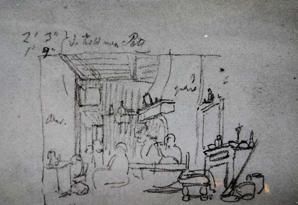 Ludwig Most, Wnętrze karczmy, według obrazu Hendricka Gerritsza Pota, ołówek, papier welinowy, rysunek w szkicowniku nr 12, karta 34v, Muzeum Narodowe w Szczecinie