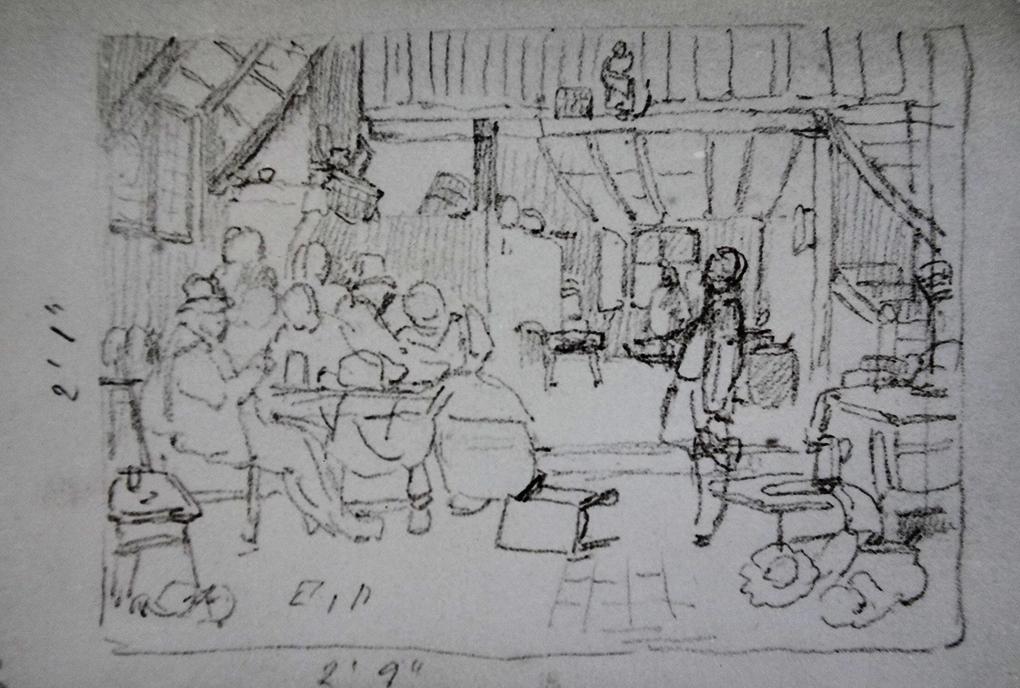 Ludwig Most, Scena w karczmie, według obrazu nieznanego artysty, ołówek, papier welinowy, rysunek w szkicowniku nr 12, karta 35, Muzeum Narodowe w Szczecinie
