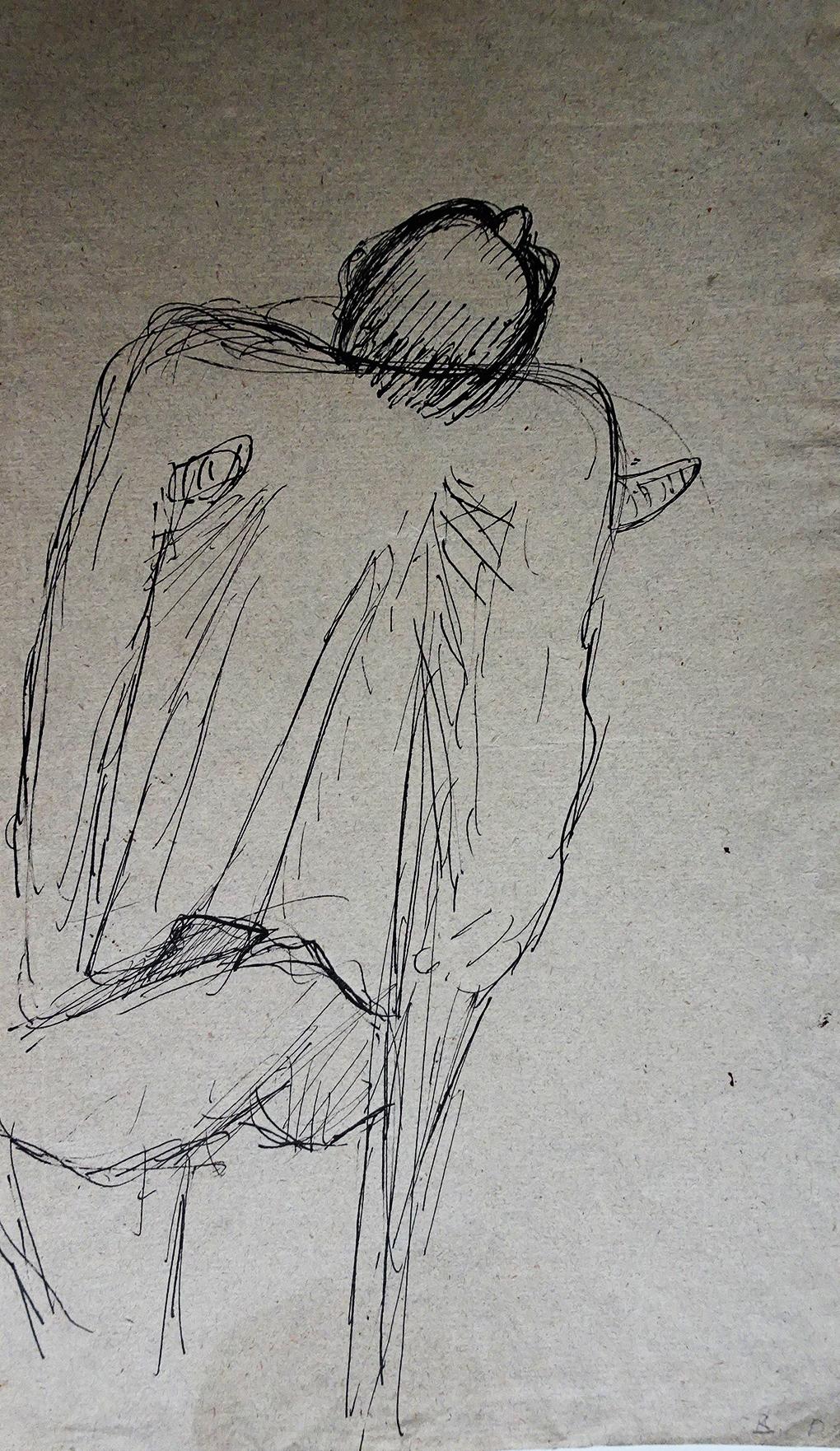 Paul Holz, Kaleka o kulach, 1923, pióro, tusz, szary papier czerpany, Muzeum Narodowe w Szczecinie, fot. Grzegorz Solecki&Arkadiusz Piętak