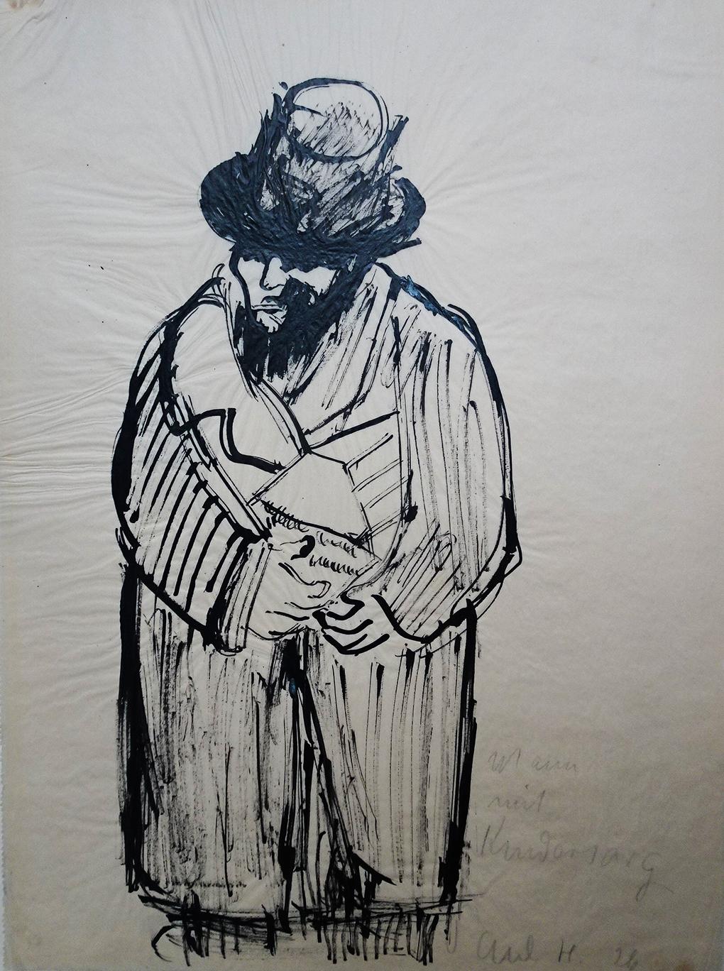 Paul Holz, Mężczyzna z dziecięcą trumienką, 1926, pióro, pióro trzcinowe, tusz, kalka, Muzeum Narodowe w Szczecinie, fot. Grzegorz Solecki&Arkadiusz Piętak