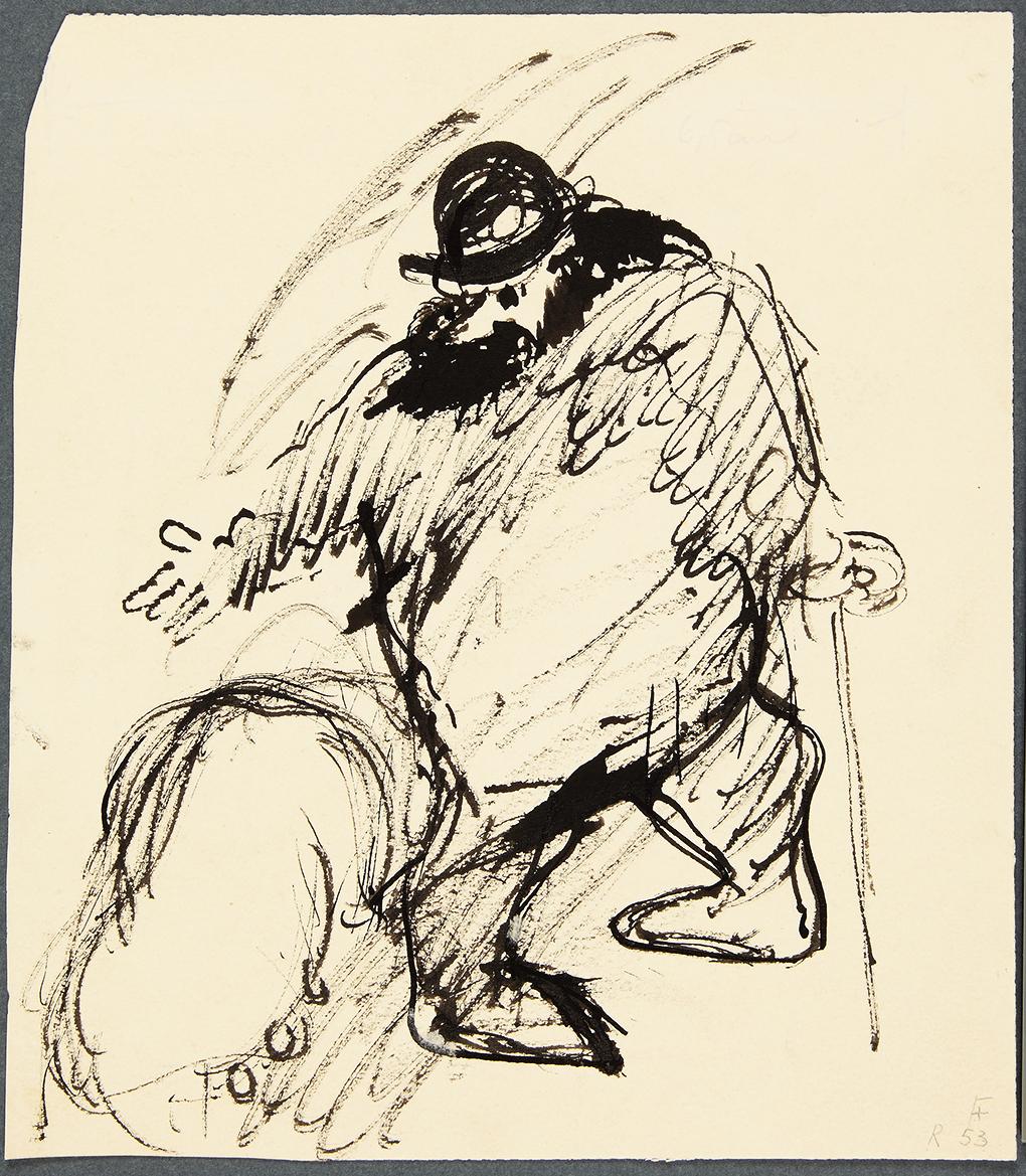 Paul Holz, Handlarz świń, około 1920, pióro, pióro trzcinowe, tusz, karton, Muzeum Narodowe w Szczecinie, fot. Grzegorz Solecki&Arkadiusz Piętak.